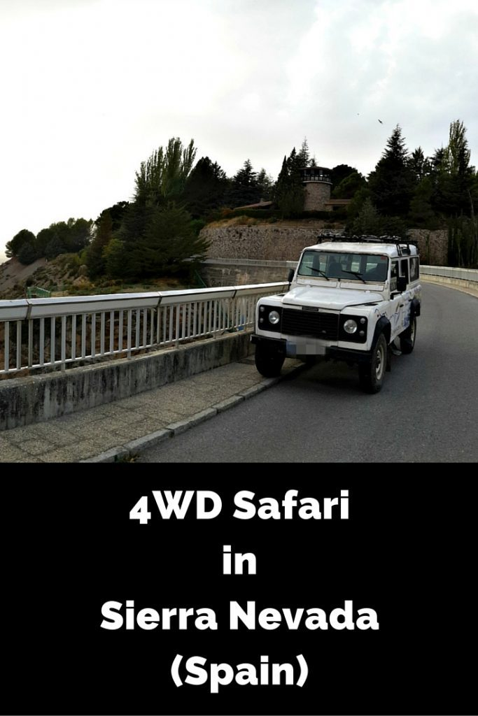 """View of a white 4wd on a road and a black box with the following text on it """"4WD Safari in Sierra Nevada (Spain) with Nevada Guides"""""""