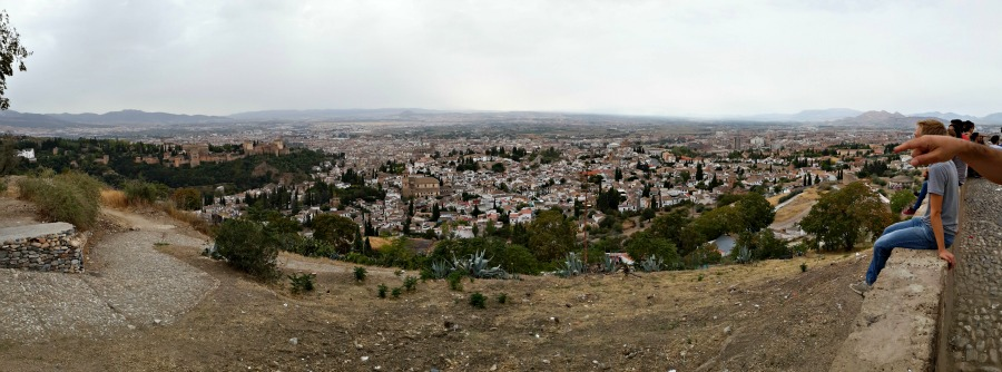 Panorama of Granada, Spain, from the Mirador del Barrio del Sacromonte.
