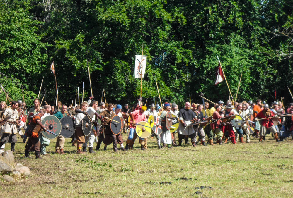 Viking warriors in battle