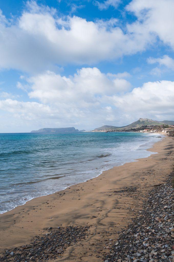 Gold sand beach on a semi cloudy day