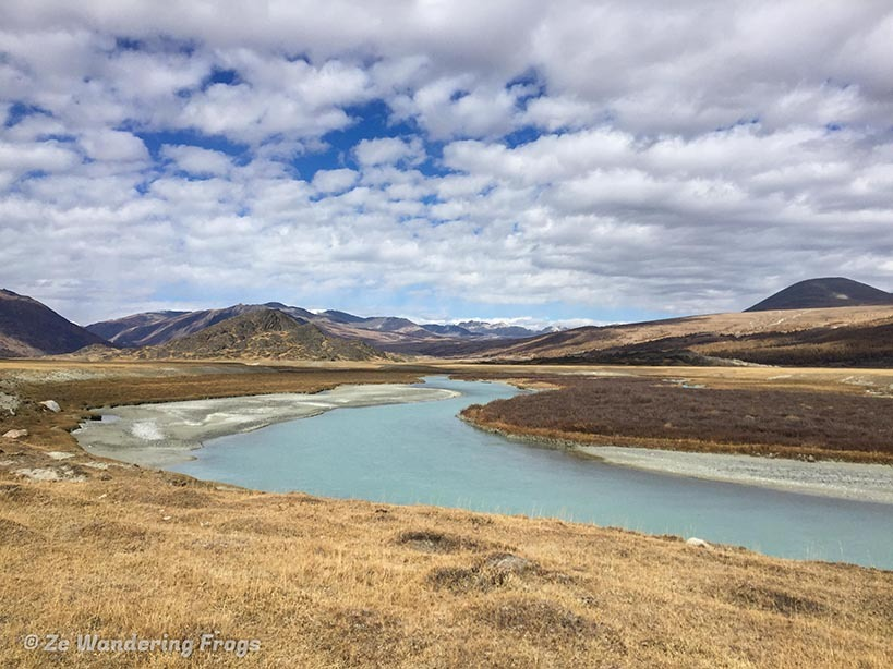 Views over a river stream along the plains of Mongolia