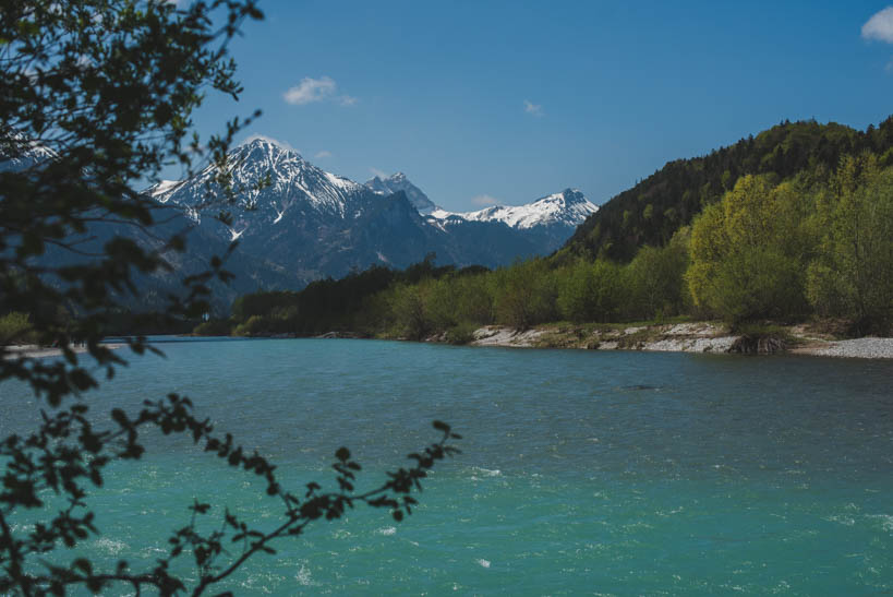 A view through the trees of a river with teal coloured water and snow-capped mountains in the background on a sunny day