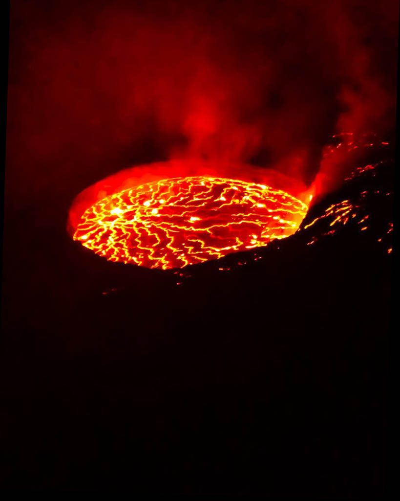 View of a lava laka in D.R. of Congo