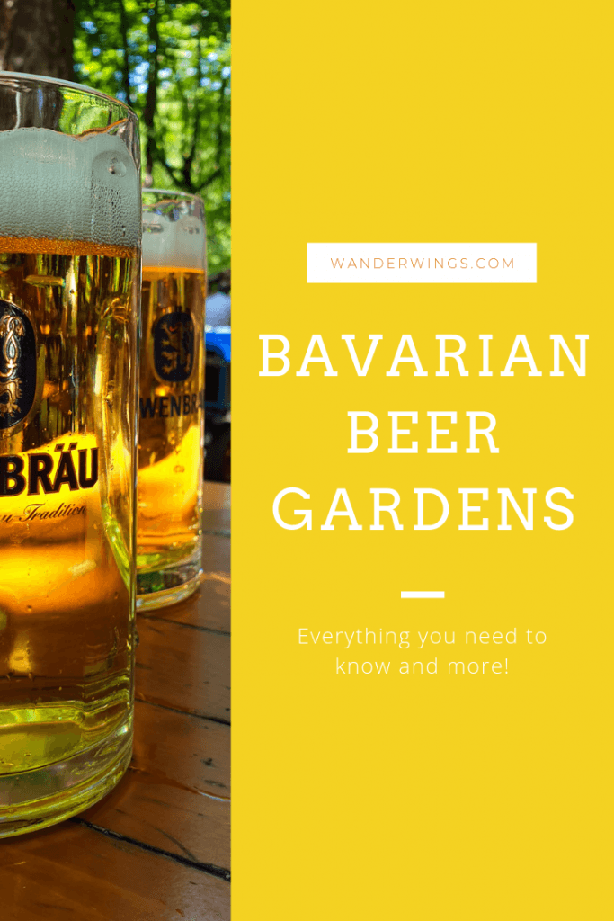 Pinterest graphic with an image of two beers on the left side, and a gold mustard rectangle on the right with some overlay text that reads: wanderwings.com, Bavarian Beer Gardens, All you need to know and more!