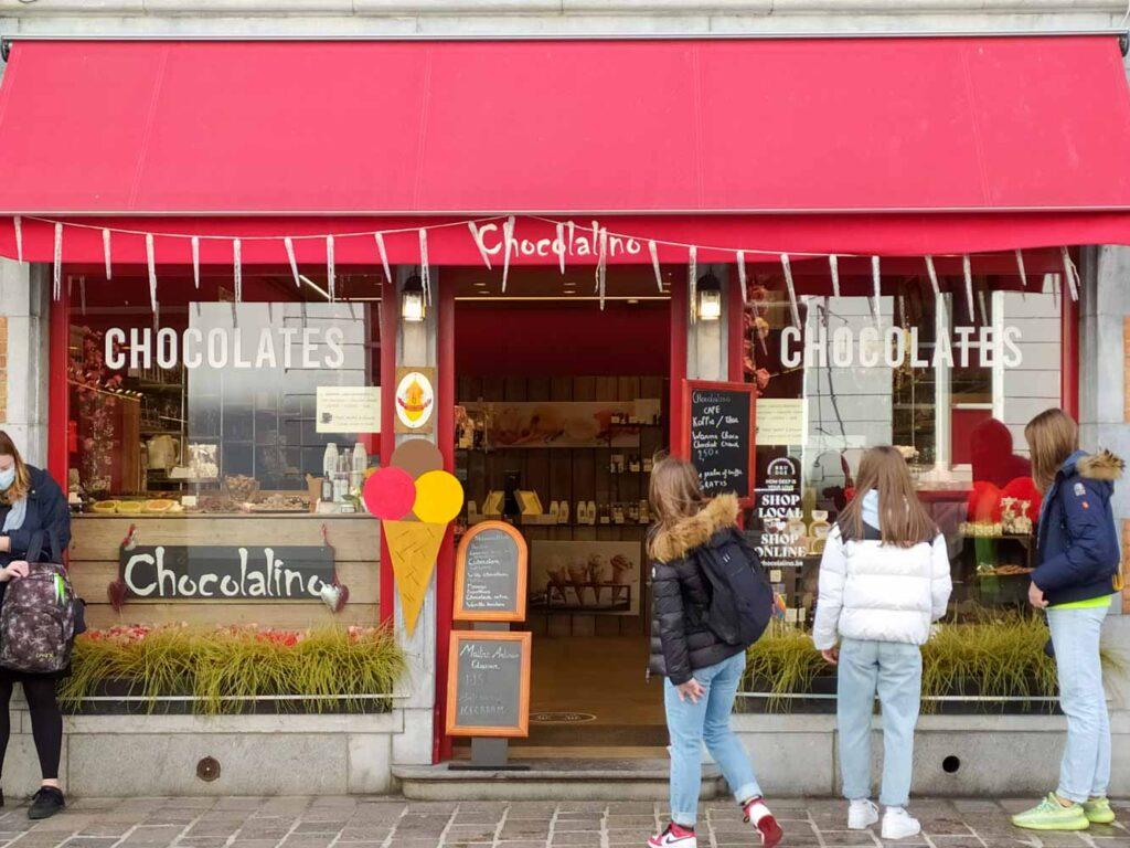 Chocolate shot in Bruges, Belgium