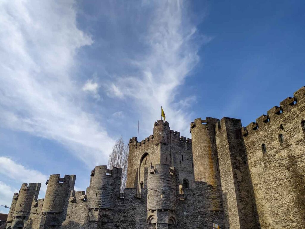 Outside view of the Gravensteen castle in Ghent, Belgium