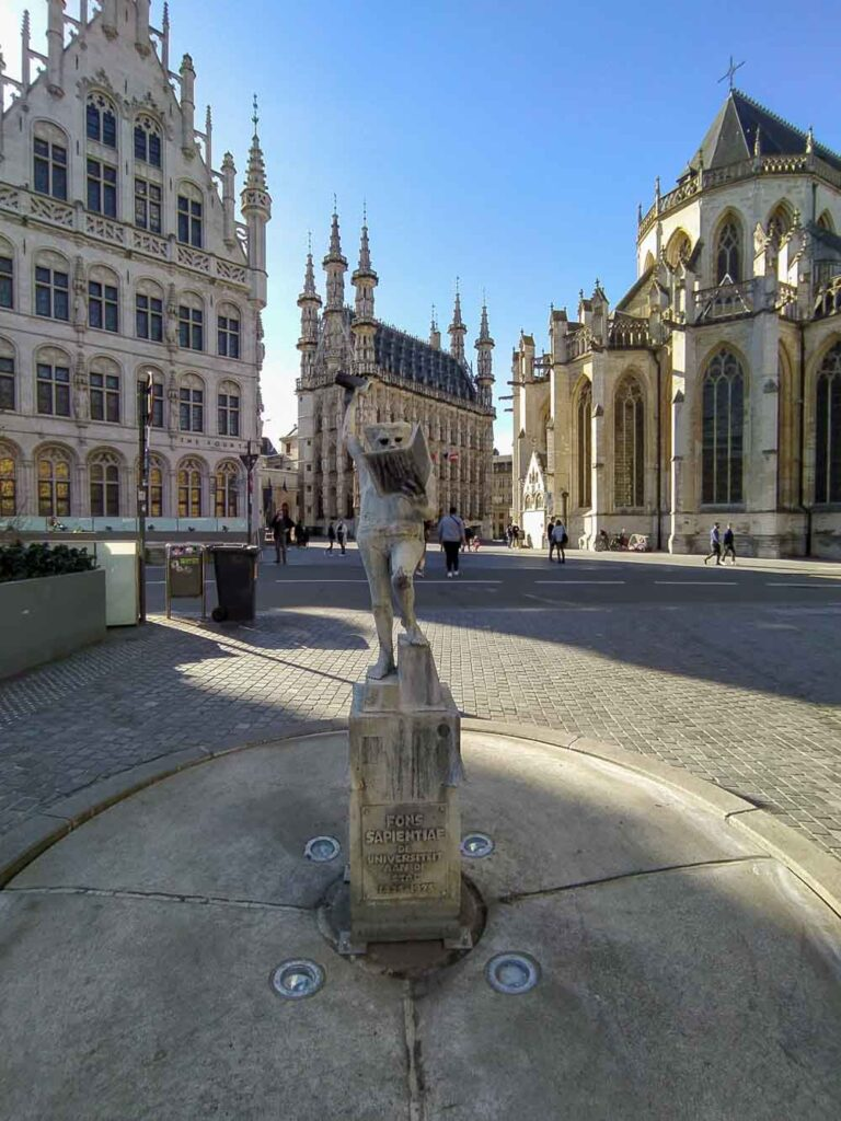 Statue in Leuven, one of many cities to visit in Belgium